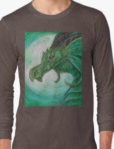 Green illustrated Oil pastel fantasy dragon  Long Sleeve T-Shirt