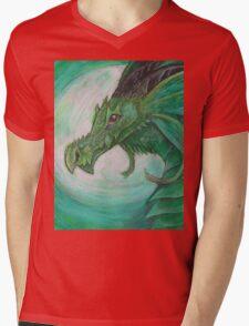 Green illustrated Oil pastel fantasy dragon  Mens V-Neck T-Shirt