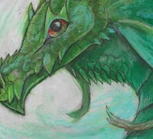 Green illustrated Oil pastel fantasy dragon  Sticker
