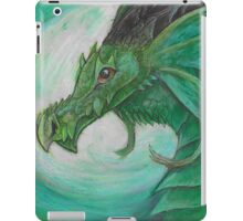 Green illustrated Oil pastel fantasy dragon  iPad Case/Skin