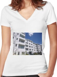 London Deco: Residences - Stanbury Court 1 Women's Fitted V-Neck T-Shirt