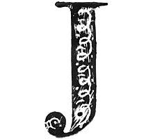 Serif Stamp Type - Letter J Photographic Print