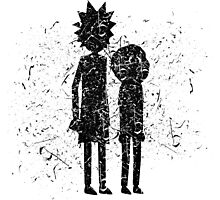 Grunge Rick and Morty Silhouette Photographic Print