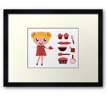 Retro baking girl - Vector cartoon Illustration Framed Print