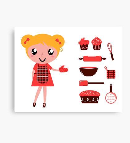 Retro baking girl - Vector cartoon Illustration Canvas Print