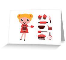 Retro baking girl - Vector cartoon Illustration Greeting Card