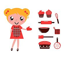 Retro baking girl - Vector cartoon Illustration Photographic Print