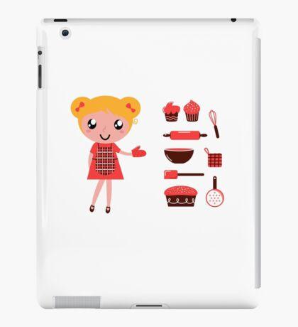 Retro baking girl - Vector cartoon Illustration iPad Case/Skin