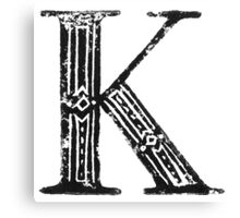 Serif Stamp Type - Letter K Canvas Print