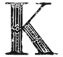Serif Stamp Type - Letter K Photographic Print