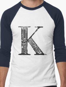 Serif Stamp Type - Letter K Men's Baseball ¾ T-Shirt