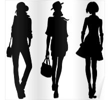 Silhouette of fashion girls Poster