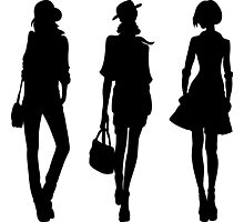 Silhouette of fashion girls Photographic Print