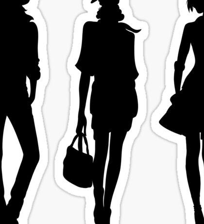 Silhouette of fashion girls Sticker