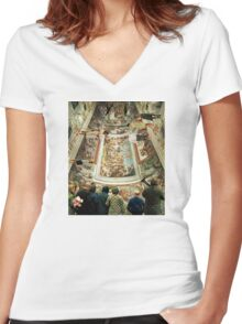 Grand Tour in the Virtual Age Women's Fitted V-Neck T-Shirt