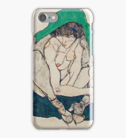 Egon Schiele - Crouching Woman with Green Headscarf 1914  Fashion Sexy  Woman iPhone Case/Skin