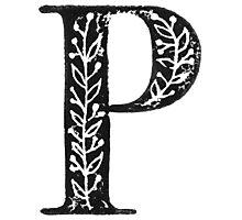 Serif Stamp Type - Letter P Photographic Print