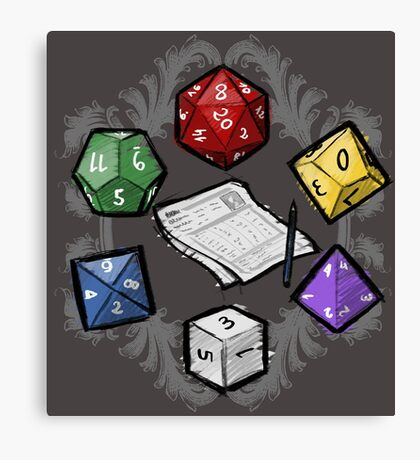 RPG DICE set and DICE PATTERN Canvas Print