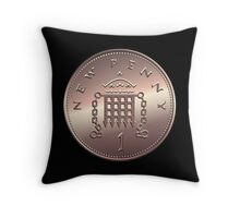 British new one penny Throw Pillow