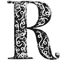 Serif Stamp Type - Letter R Photographic Print