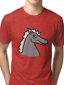 face head cool riding horse stallion equestrian comic cartoon Tri-blend T-Shirt