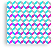 Bold Bright Trendy Optical Illusion Color Blocks Geometric Print Canvas Print