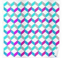 Bold Bright Trendy Optical Illusion Color Blocks Geometric Print Poster