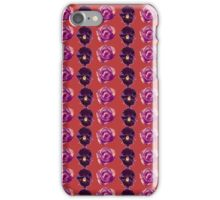 Purple and yellow pansies and pink roses burnt orange background iPhone Case/Skin