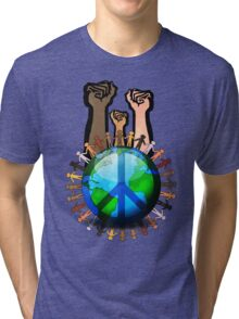Unity And Peace - Raised Fists! Tri-blend T-Shirt