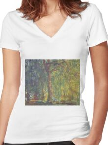 Claude Monet - Weeping Willow , Impressionism) Women's Fitted V-Neck T-Shirt