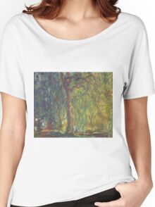 Claude Monet - Weeping Willow , Impressionism) Women's Relaxed Fit T-Shirt