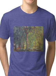 Claude Monet - Weeping Willow , Impressionism) Tri-blend T-Shirt