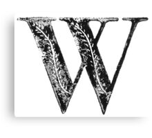 Serif Stamp Type - Letter W Canvas Print