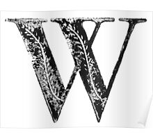 Serif Stamp Type - Letter W Poster