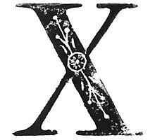 Serif Stamp Type - Letter X Photographic Print