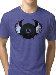 Vinyl Records with Wings - Retro Grunge Vintage Art - Music DJ! Tri-blend T-Shirt