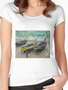 Claude Monet - Three Fishing Boats (1886)  Impressionism Women's Fitted Scoop T-Shirt