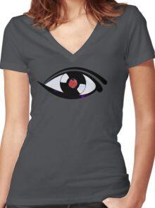 Eye Heart Vinyl (I Love Vinyls) Modern Conceptual Art Vinyl Records Music Women's Fitted V-Neck T-Shirt