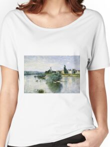Claude Monet - The Seine at Lavacourt ,Impressionism Women's Relaxed Fit T-Shirt
