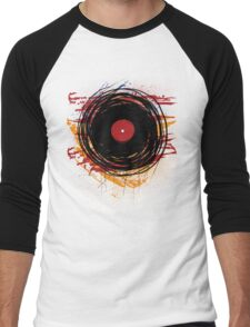 Vinyl Record Retro Grunge with Paint and Scratches - Music DJ! Men's Baseball ¾ T-Shirt