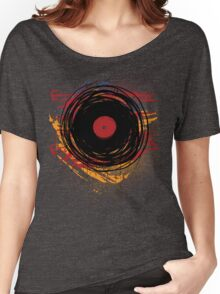 Vinyl Record Retro Grunge with Paint and Scratches - Music DJ! Women's Relaxed Fit T-Shirt