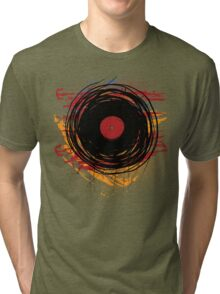 Vinyl Record Retro Grunge with Paint and Scratches - Music DJ! Tri-blend T-Shirt