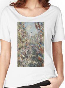 Claude Monet - The Rue Montorgueil in Paris. Impressionism Women's Relaxed Fit T-Shirt