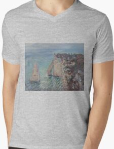 Claude Monet - The Rock Needle and the Porte d'Aval Impressionism Mens V-Neck T-Shirt