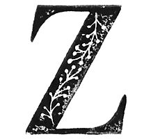 Serif Stamp Type - Letter Z Photographic Print