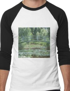 Claude Monet - The Japanese bridge, Impressionism Men's Baseball ¾ T-Shirt