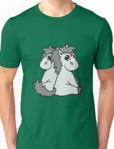 siblings twins brothers sisters couple couple in love love team foal sweet cute sitting pony pferdchen kawaii child Unisex T-Shirt