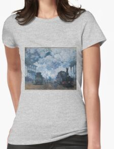 Claude Monet - The Gare Saint-Lazare Arrival of a Train , Impressionism Womens Fitted T-Shirt