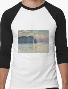 Claude Monet - The Cliff, Étretat,  Sunset  Impressionism Men's Baseball ¾ T-Shirt