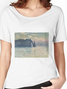 Claude Monet - The Cliff, Étretat,  Sunset  Impressionism Women's Relaxed Fit T-Shirt